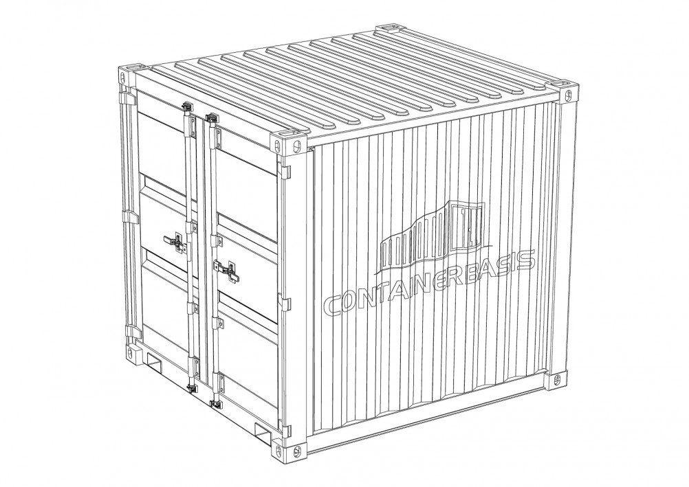 zeichnung eines 8 fuss container von containerbasis.de