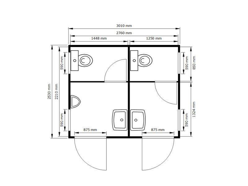 fladafi wc modul 3m damen herren. Black Bedroom Furniture Sets. Home Design Ideas